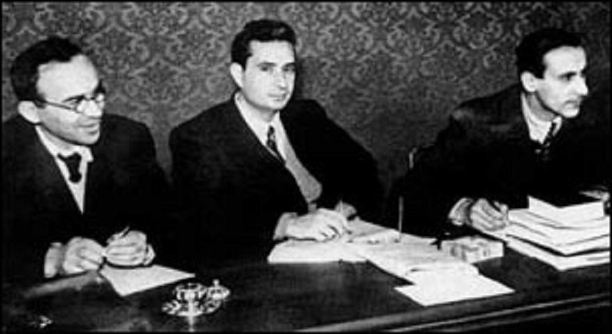 Giorgio La Pira, Aldo Moro, Giuseppe Dossetti, tre giovani professorini all'Assemblea costituente